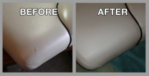 Before and after boat interior restoration - Premier Leather Restoration client results