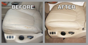 Before and after car seat repair - Premier Leather Restoration Client Results