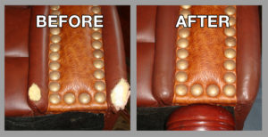 Before and after leather couch repair - Premier Leather Restoration client results
