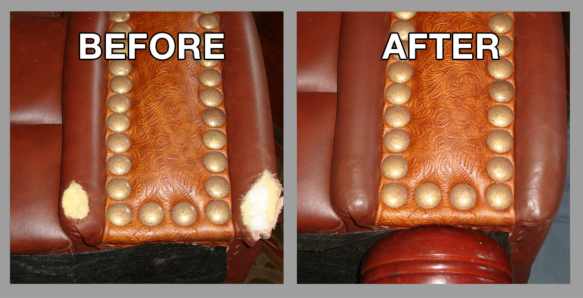 Before And After Leather Couch Repair Furniture Restoration